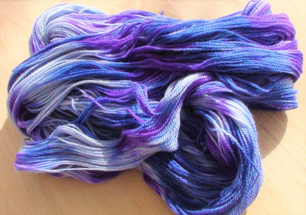 speial skein of yarn in blues and purples