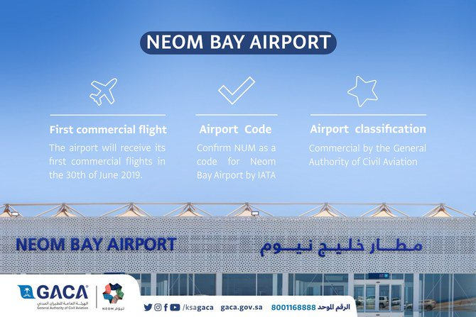 Saudi civil aviation announces the opening of NEOM Bay airport