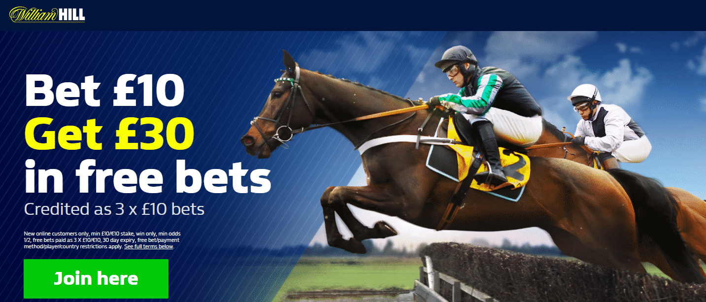 join william hill and bet £10 and get £30 to bet with