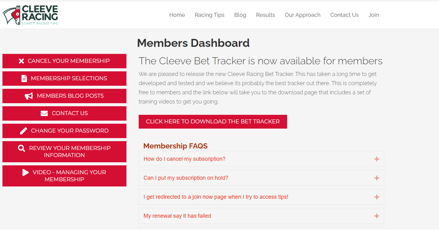 cleeve racing membership dashboard
