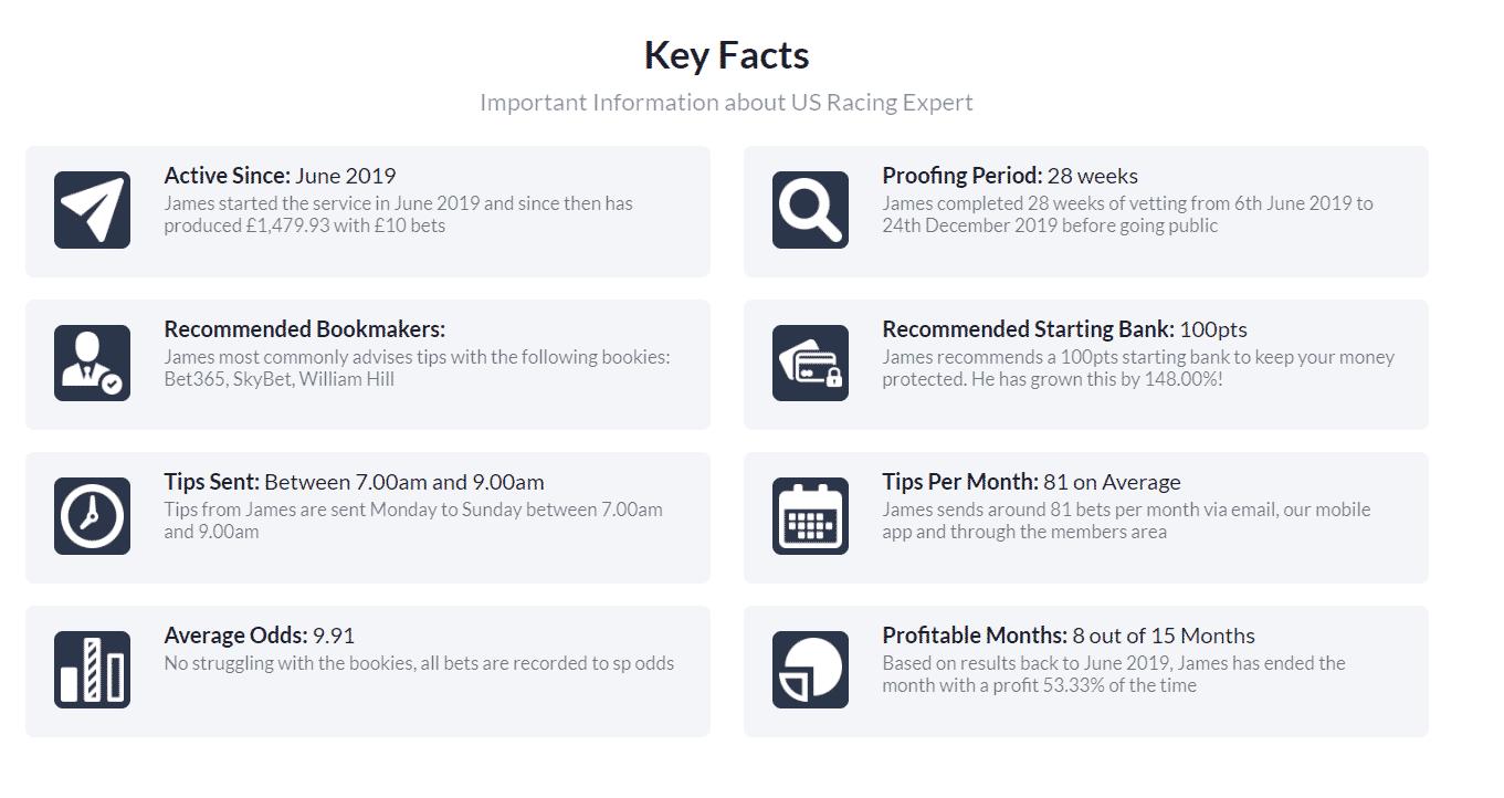 US Racing expert key stats