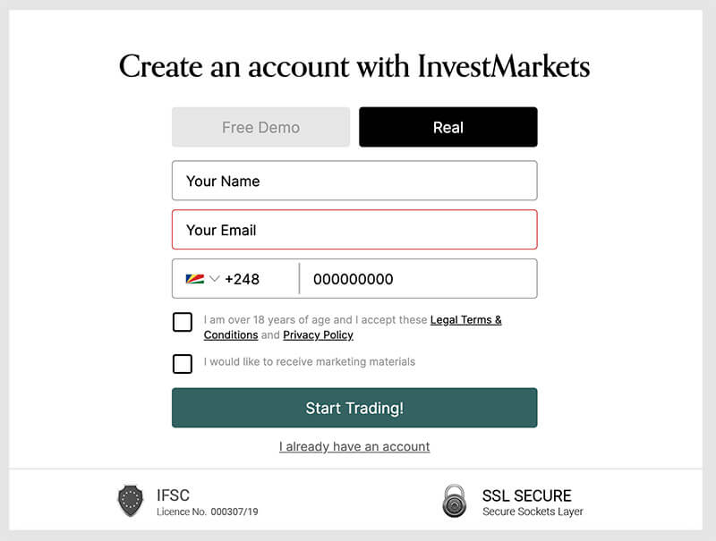 Illustration showing the registration process at InvestMarkets.