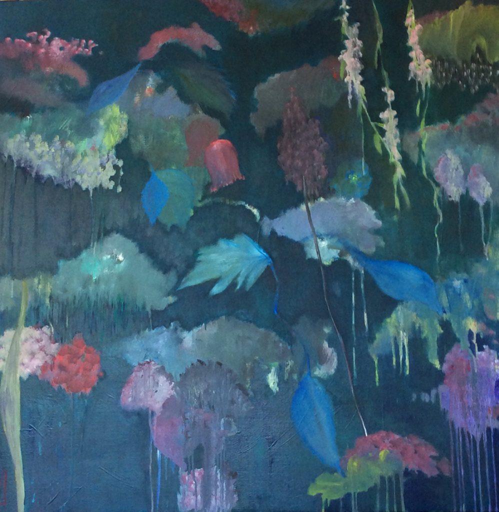 flowerscape nr 9 - 100x100 - olie op doek