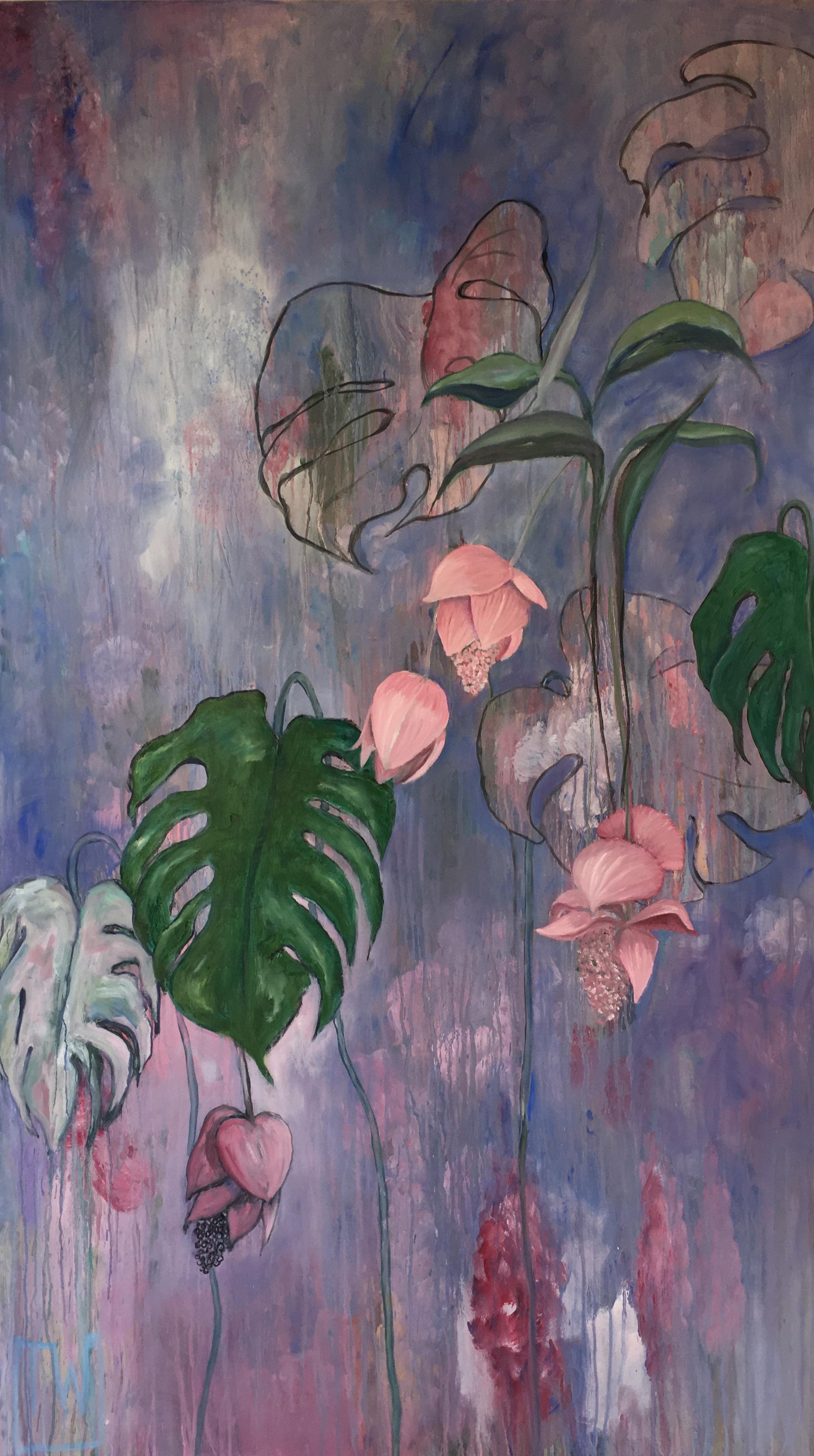 flowerscape nr 10 - 90x160 - olie op doek