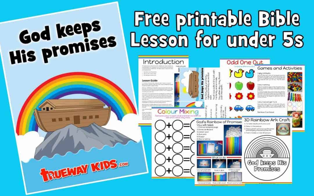 Free Bible lesson teaching about the Rainbow and God's promises. Includes fun and educational games, activities, worksheets and crafts.