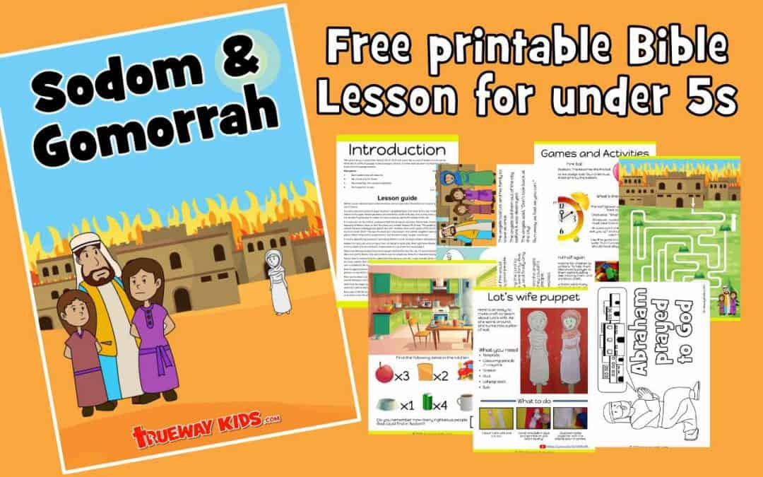 Sodom and Gomorrah preschool Bible lesson. Learn about praying for others & running from sin.Games, Crafts, Activities, songs, lesson, worksheets and more.