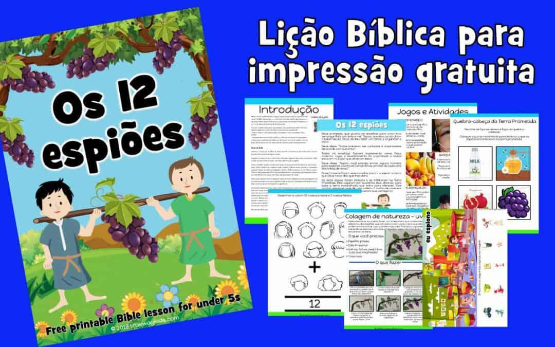 Os 12 espiões - Eliseu - Lição Bíblica para impressão gratuita para usar em casa ou na igreja.