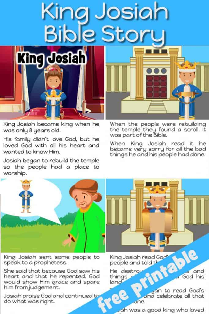 King Josiah printable Bible story. Ideals for review or bed time Bible story for preschool kids.
