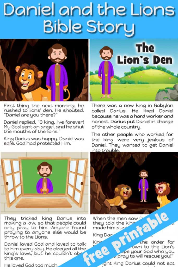 Daniel and the Lion's Den. Free printable Bible story for preschool Children. Nice to use as bedtime story or take home sheet
