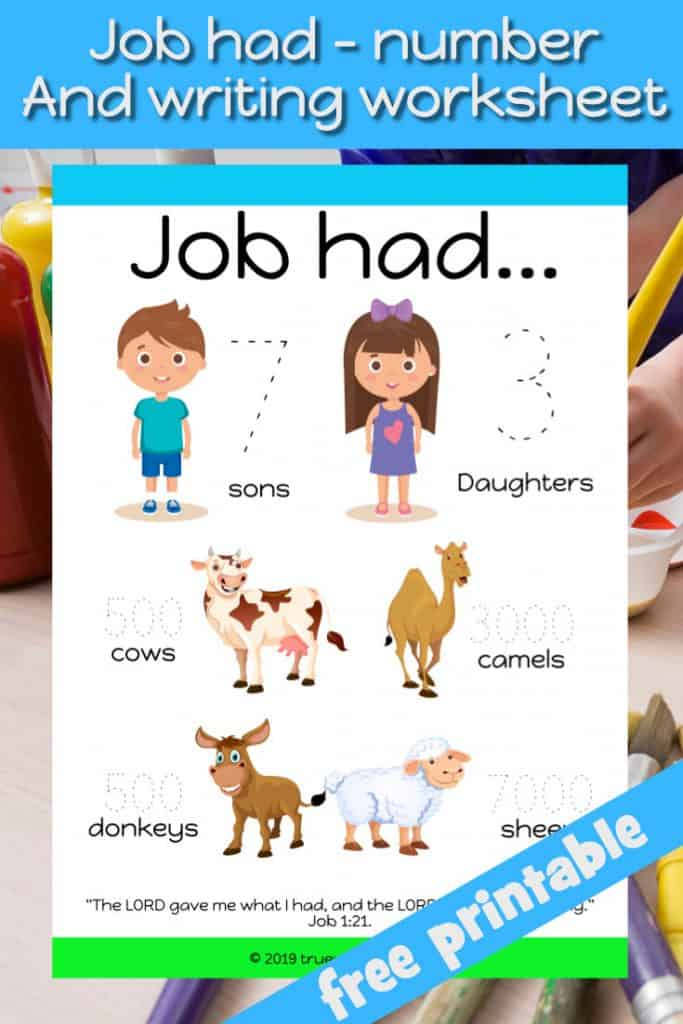 Job had Bible worksheet. Free printable. Practice writing numbers. Learn about what Job had and was taken away. Job Bible review worksheet.