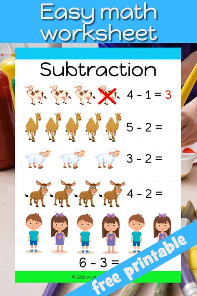 Easy math subtraction worksheet for preschool. Job Bible worksheet. Review things Job had and where taken away.
