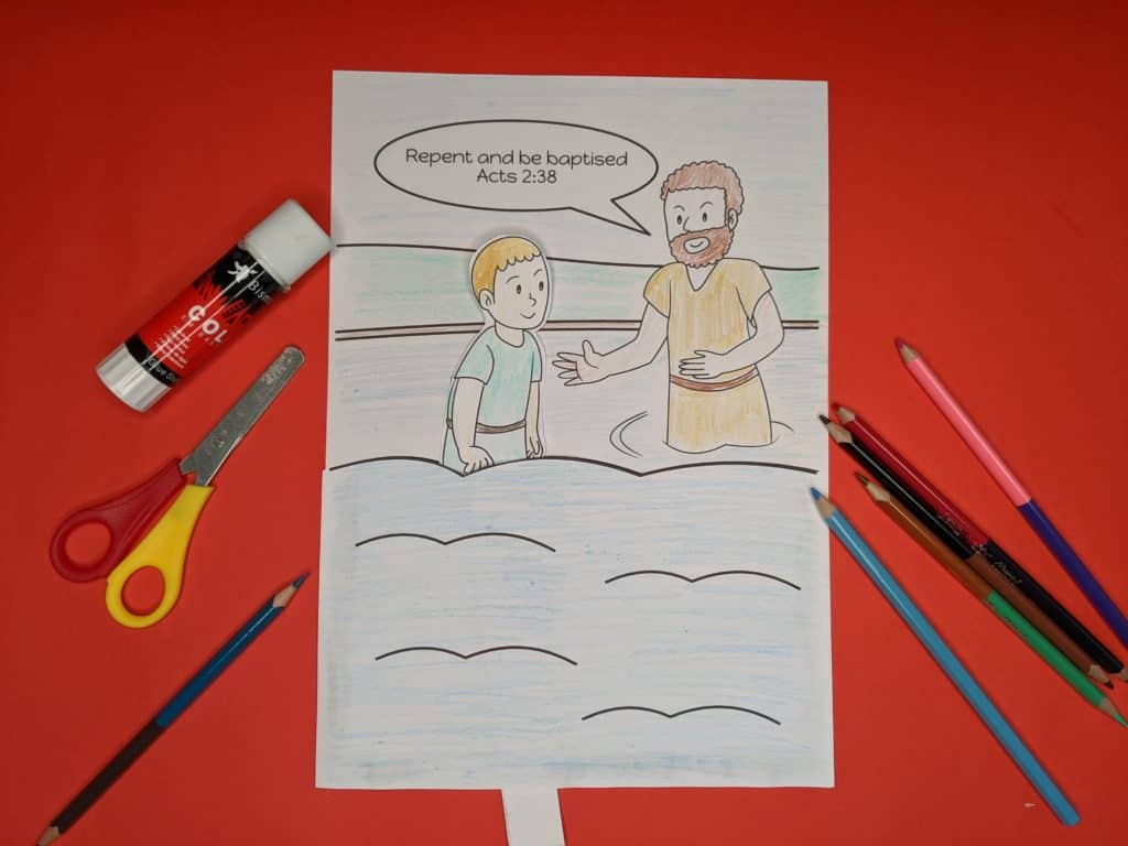 Easy to make John the Baptist craft with free printable template. Move person up and down into the river Jordan.