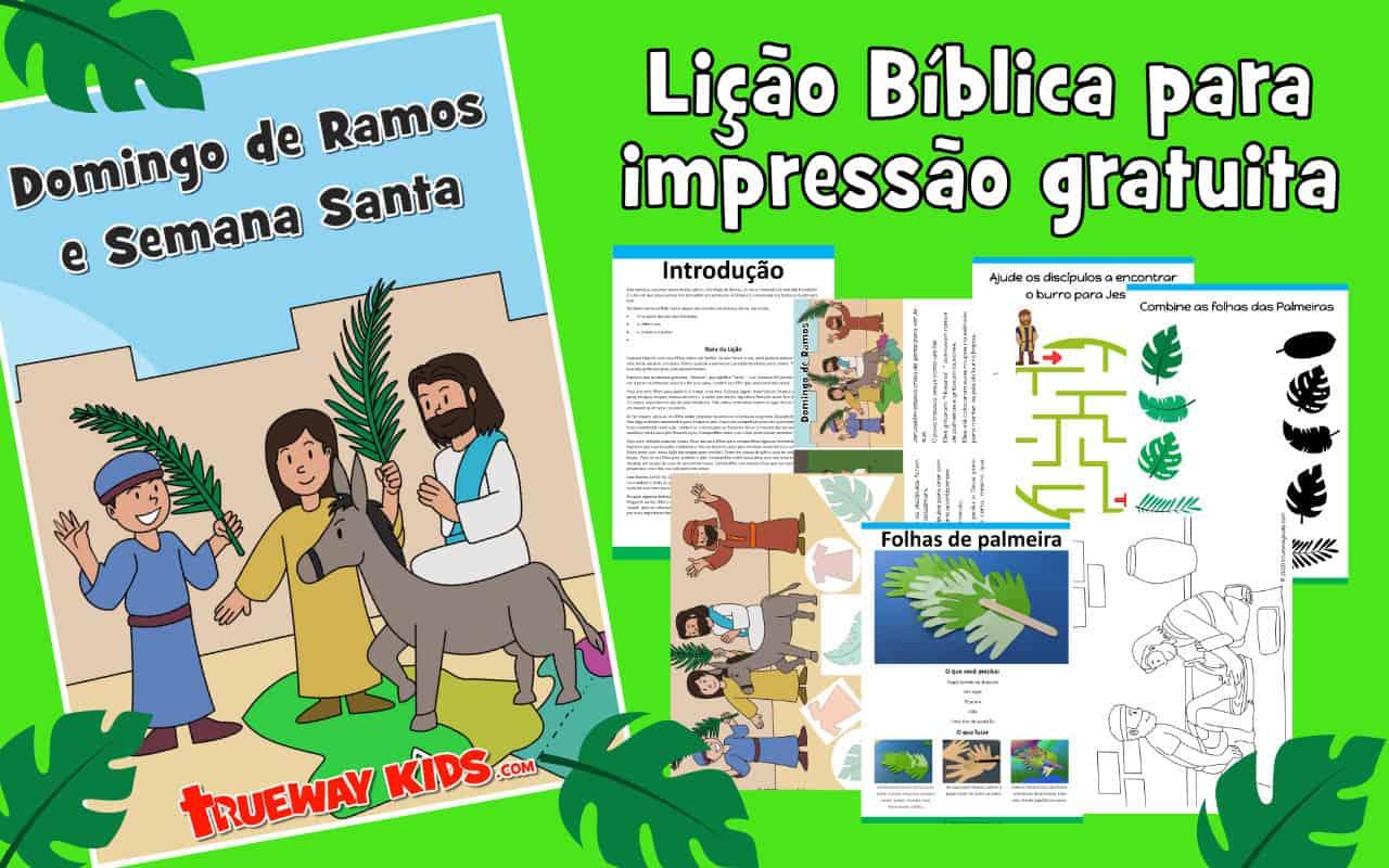 Domingo de Ramos e Semana Santa - Aula Bíblica para crianças - GRÁTIS para impressão