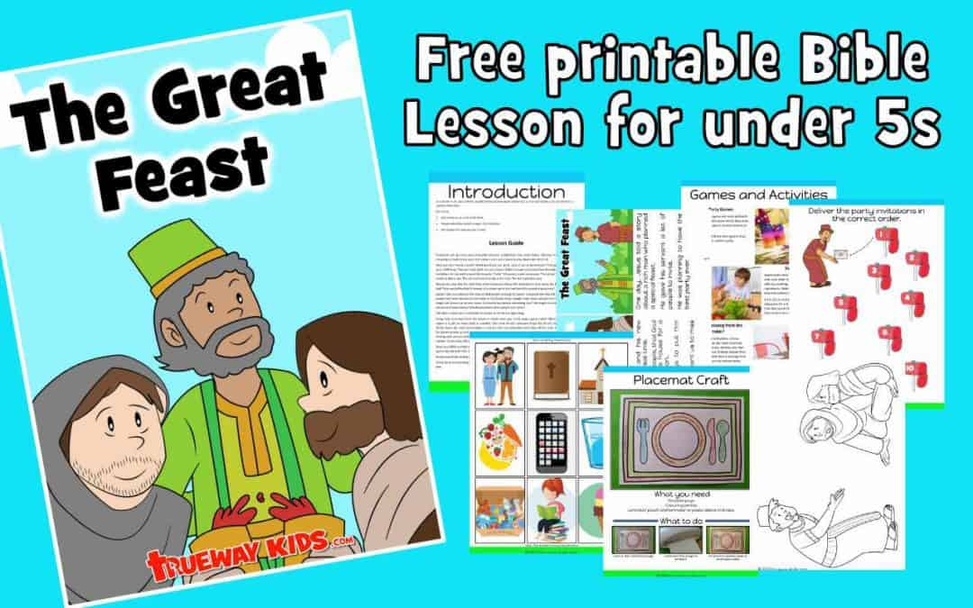 Free printable Preschool Bible lesson. In Luke 14:15-24, Jesus tells the parable of the great banquet and reminds us that God invites us to join Him for a special celebration.