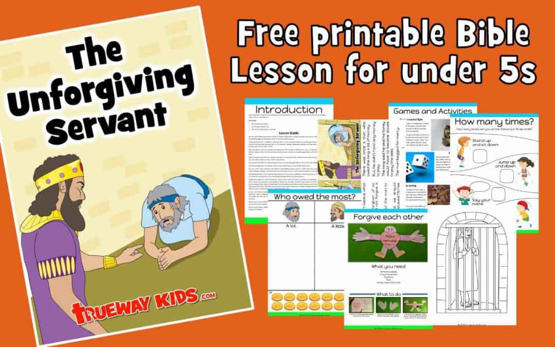 Free printable Bible lesson for kids. Jesus taught the parable of the Unforgiving Servant in Matthew 18:21-35. This parable teaches that we must forgive others, since Jesus forgave us.