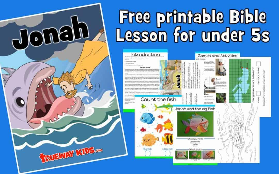 Jonah and the big Fish. FREE preschool Bible lesson. Printable includes games and activities, worksheets, coloring pages, craft, story and much more. Learn about Jonah running from God. Great for church, home or school.