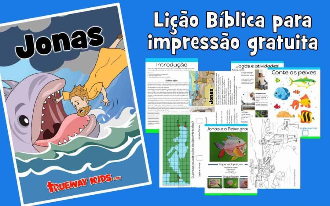 Jonas - Lição Bíblica para impressão gratuita para usar em casa ou na igreja. Cada lição inclui esboço de lição, história, jogos e atividades, planilhas, páginas para colorir, artesanato e muito mais.
