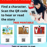 FREE printable Nativity trail with audible story. Twelve images to find, the Christmas story to discover. Contact FREE. Use at church or at home,