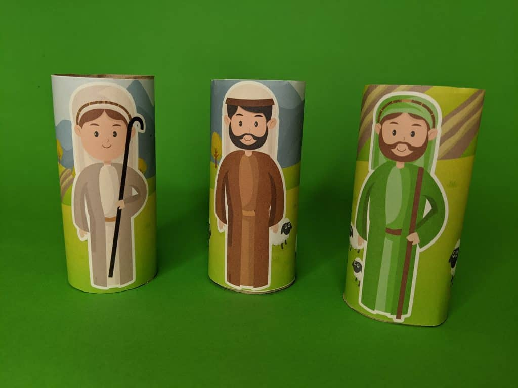 Nativity Character wraps for kids. Easy Christmas Bible craft. FREE printable included.