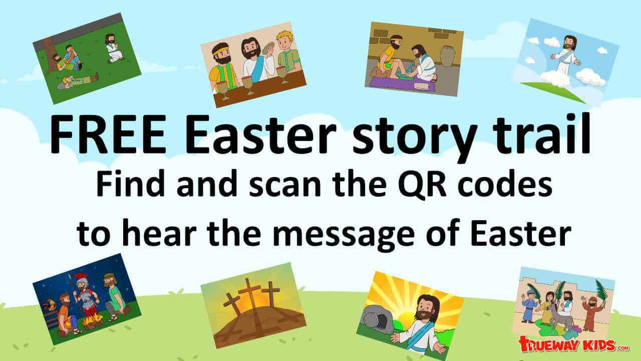Easter story trail. Scan a code to listen to the Easter story.