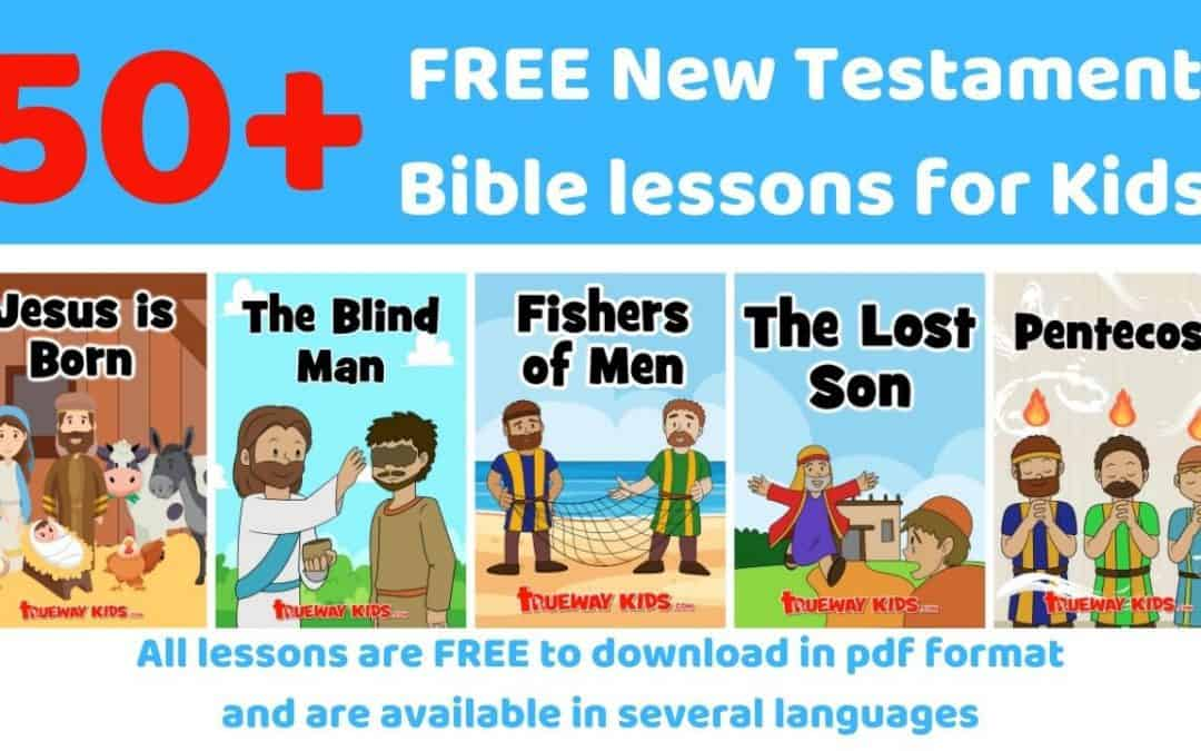 FREE printable New Testament lessons for kids. Ideal for home or church. Learn about the life, parables and miracles of Jesus. Worksheets, coloring pages, games, crafts and more.
