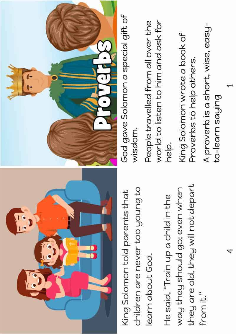 proverbs Bible story for kids. FREE printable Bible story