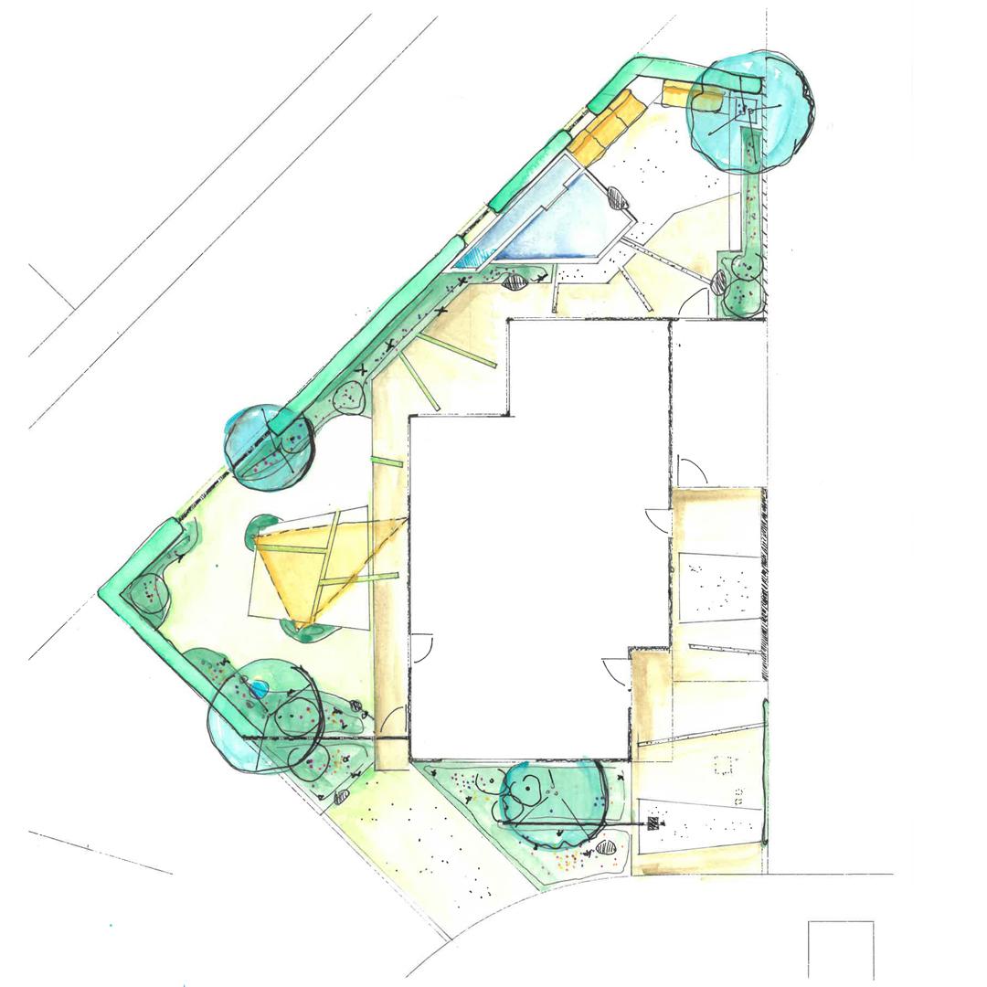 plan hedendaagse tuin Landegem