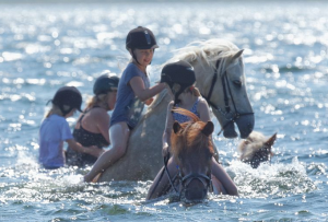 Jøkull in the water with the girls on a ridelejr.
