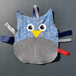 Knuffel-uiltje blauw grijs