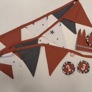 Feestpakket rood-grijs+sterren