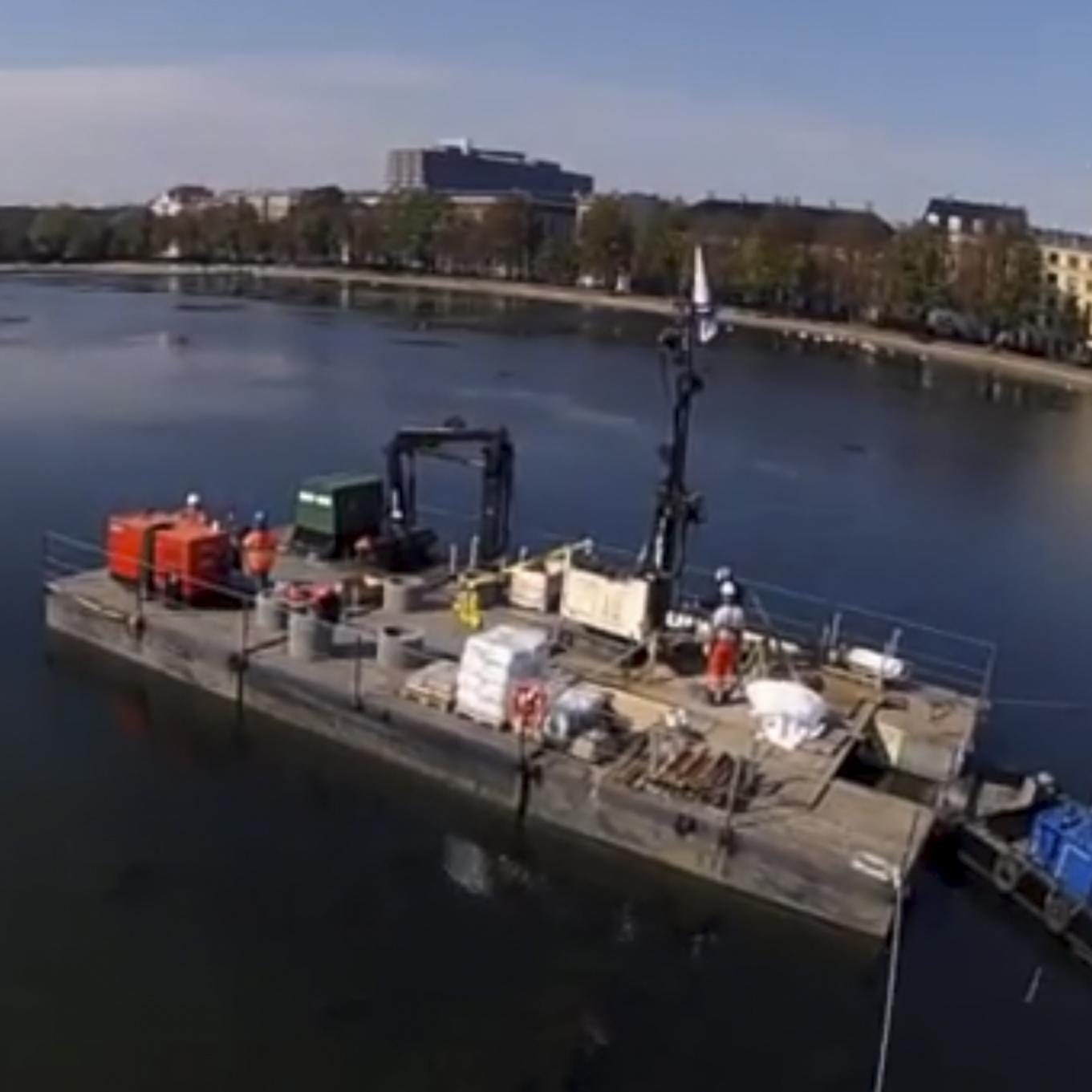 Geoteknisk boring i Sortedamssøen