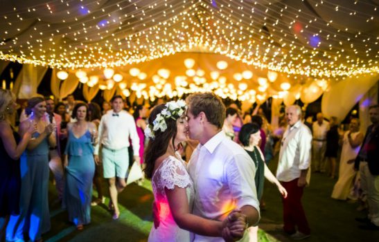 Beach wedding soft lighting lanterns