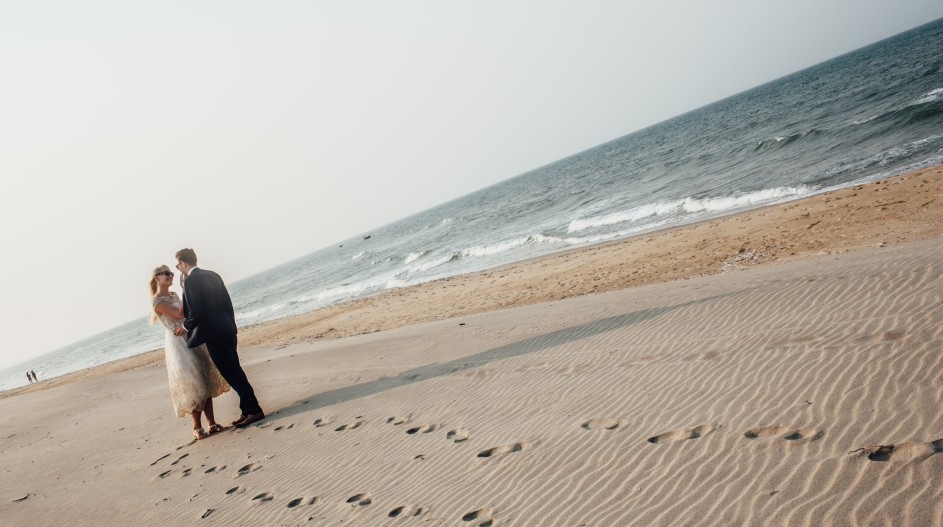 Private Beach Wedding with Sand Footprints | Hoi An, Vietnam