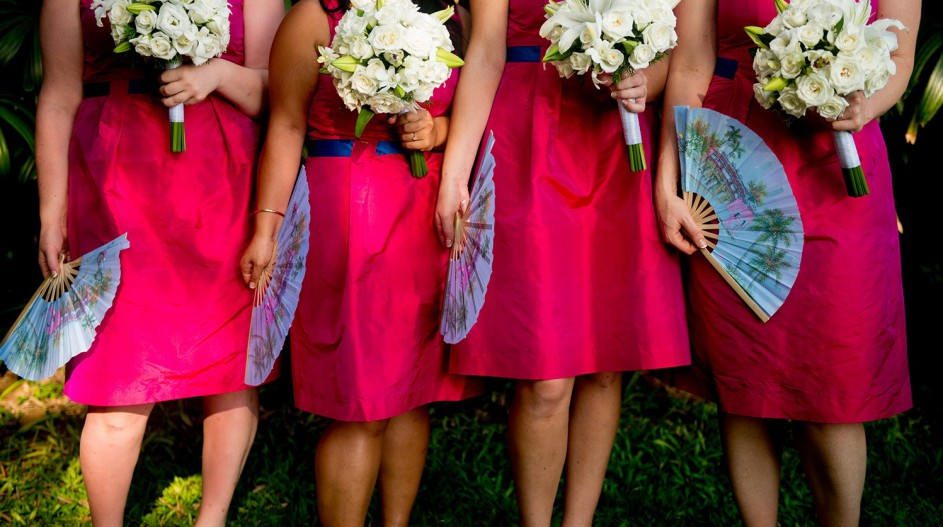 Blue Fan Wedding Favour and Pink Bridesmaid Dresses | Hoi An, Vietnam