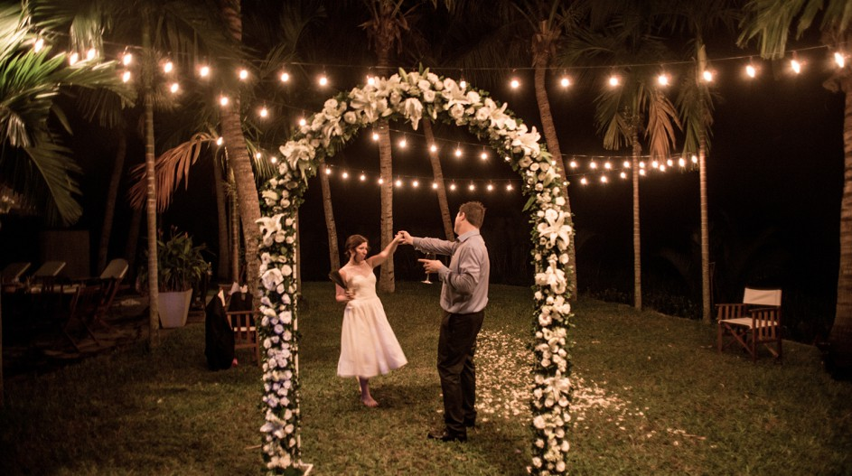 Riverside Wedding with Fairy Lights and Flower Arch | Hoi An, Vietnam