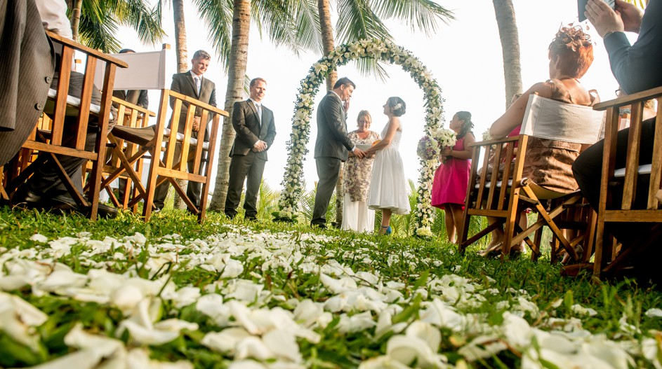 Riverside Tropical Wedding with White Flower Petals | Hoi An, Vietnam