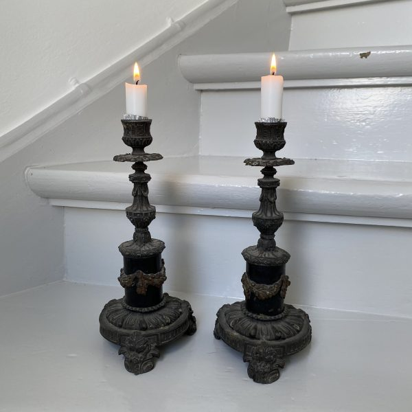 2 gamle franske lysestager