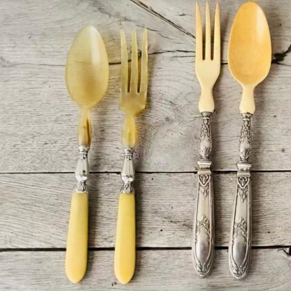 Gamle franske salatbestik i ben og sølv