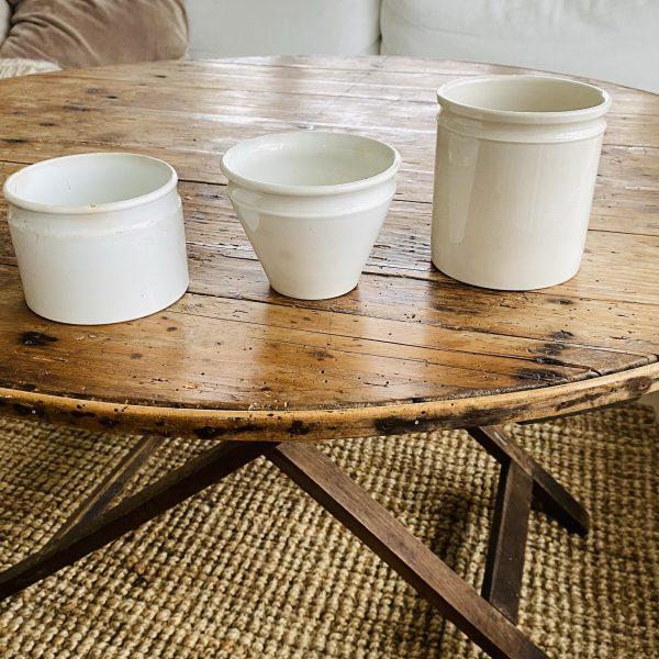 3 hvide franske porcelænskrukker