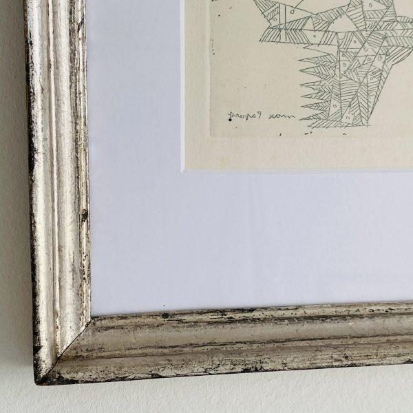 Litografi i antik sølvramme fra Villaverte