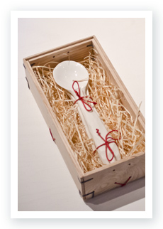 Carved MadeReal porcelain Spoon inside it's special wooden box
