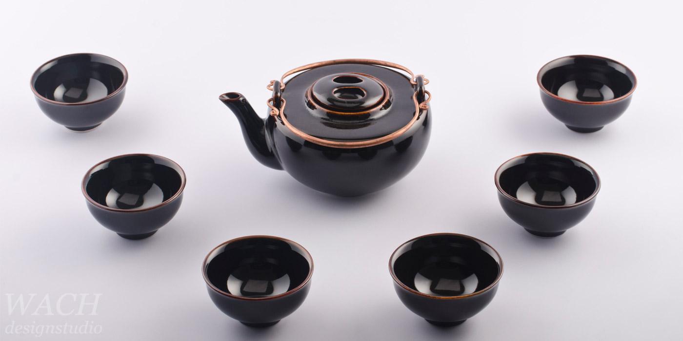 Half Moon Teaset with Tenmoku Black glaze. Phuc Duy ceramic produced in Tien Giang, Vietnam.