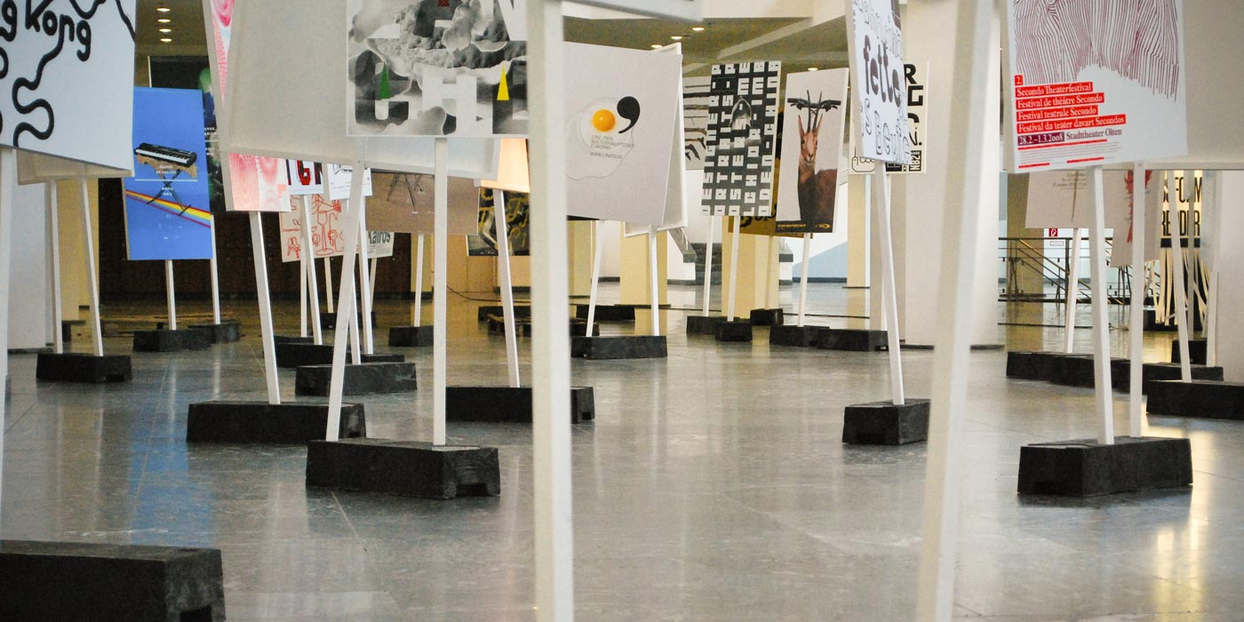 100 Beste Plakate 2008 Exhibition setup at Kulturforum Berlin 01