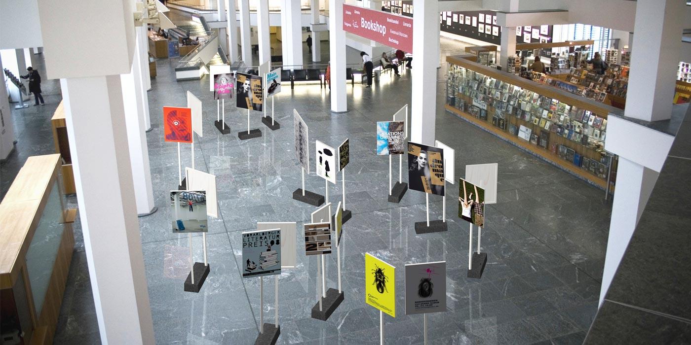 100 Beste Plakate 2008 Exhibition setup at Kulturforum Berlin 03