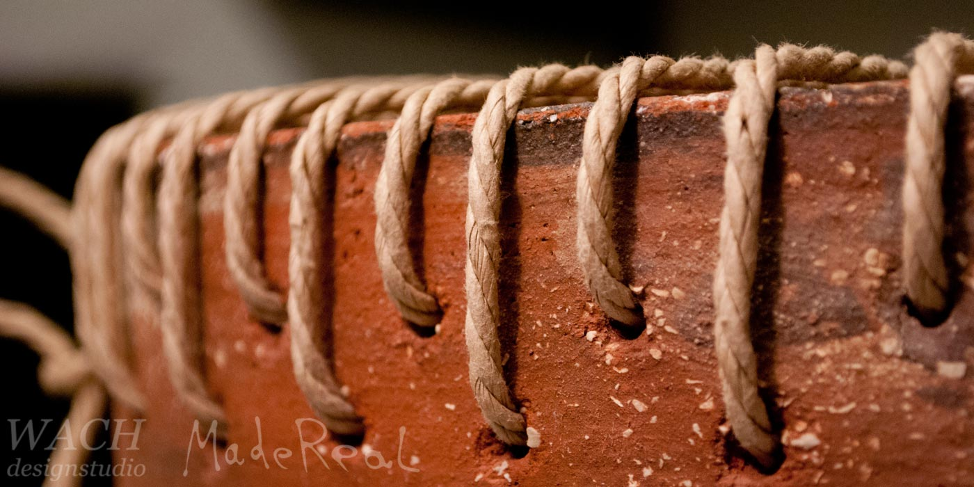 Detailed view at the seat weaving of MadeReal Clay Stool