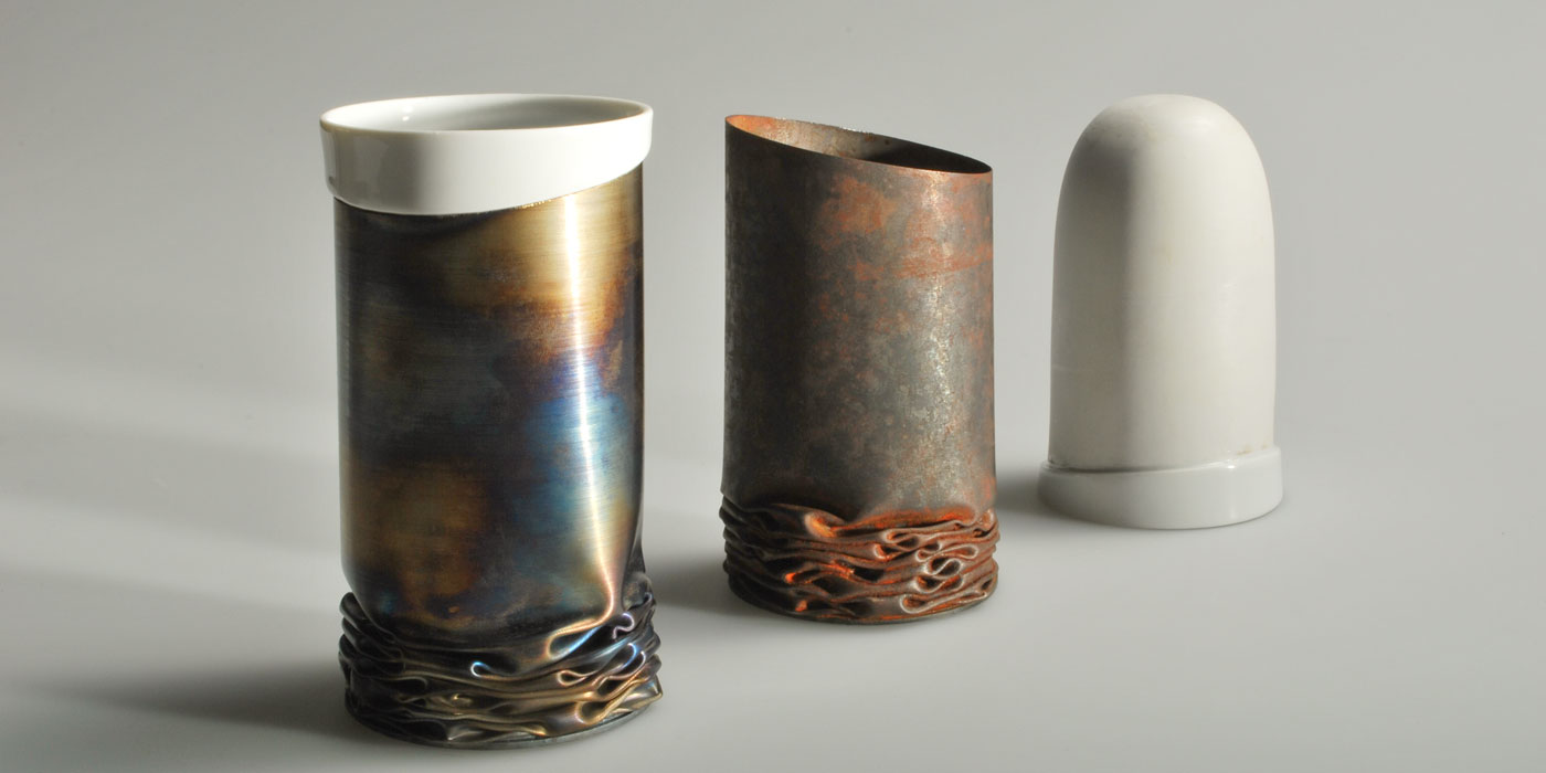 Rust Cup shell and porcelain inlay before assembly