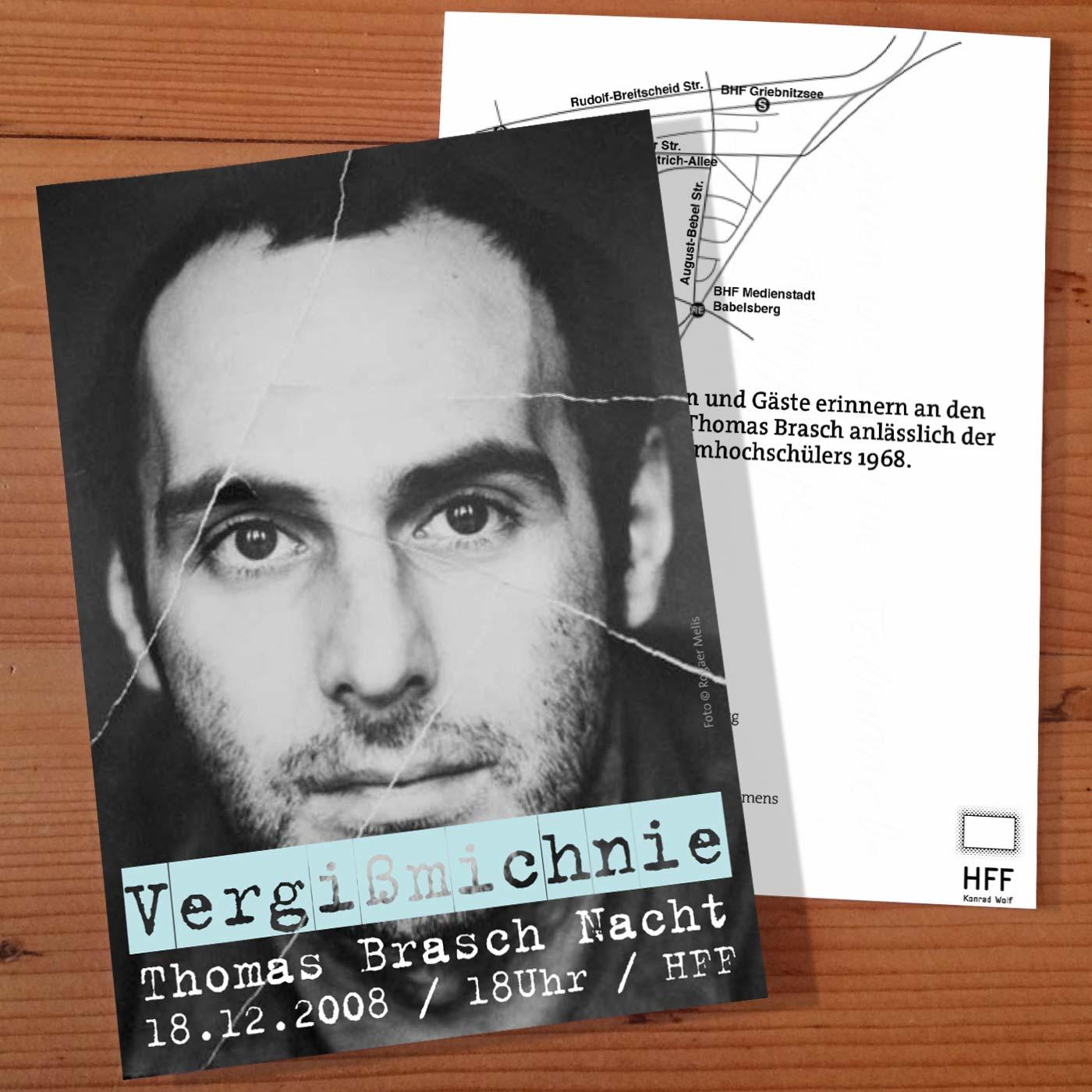 Thomas Brasch Flyer for HFF Brasch-Nacht designed by WACH designstudio and Daniel Grötzsch