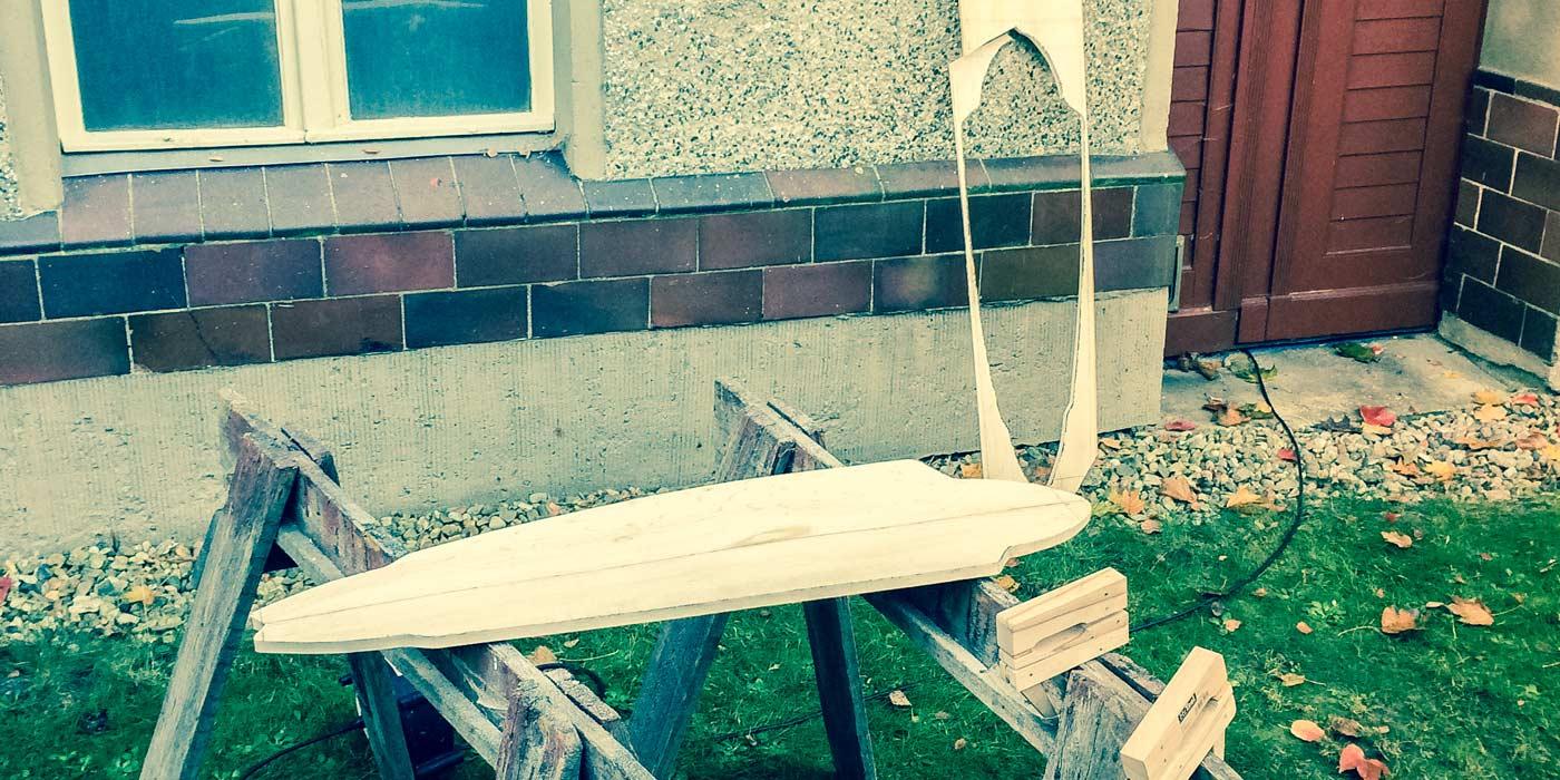 Ready cut out shape of WACH designstudio longboard