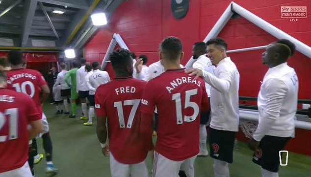 United's Brazilians Fred and Andreas Pereira embraced Roberto Firmino and Fabinho