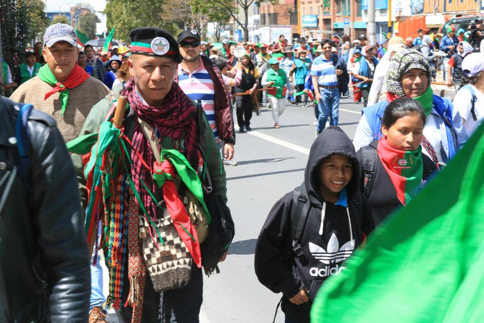 ingidenous leaders marching in Colombia